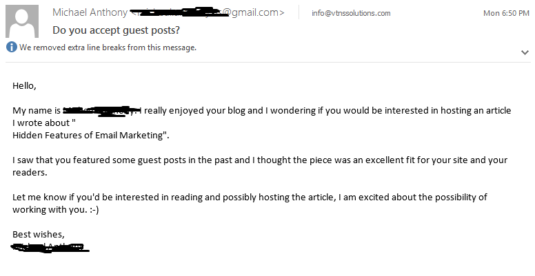 bad guest posting outreach email